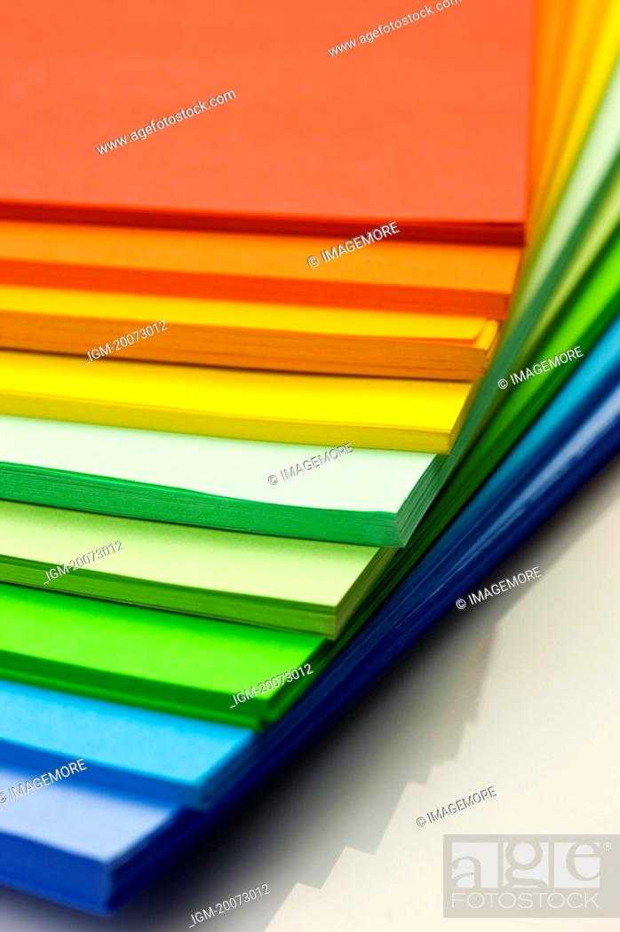 Stock Photo: Papers in stacks.