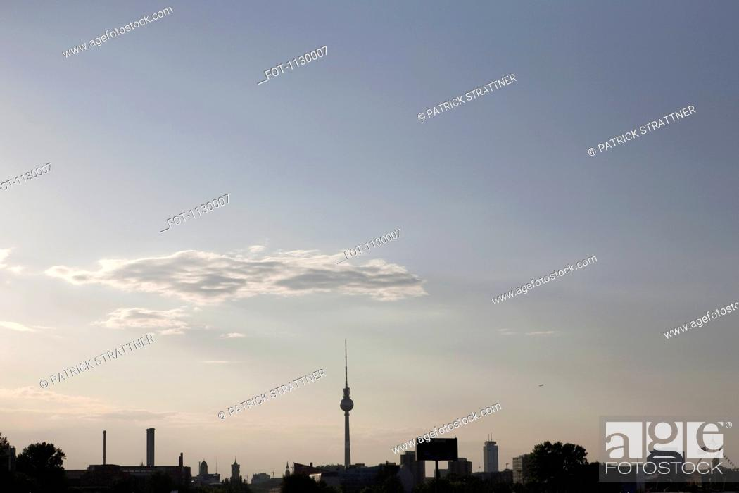 Stock Photo: A silhouette of the Berlin skyline.