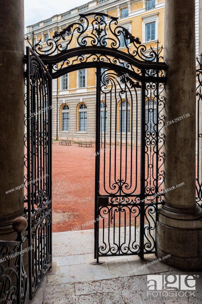 Stock Photo: Wrought Iron Gate, Saint Jean Palace, Lyon, Rhône Alpes, France.
