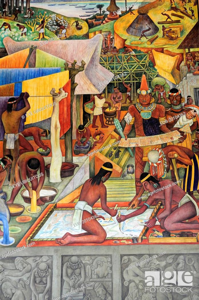 Detail Of Mexico A Traves De Los Siglos Mural By Diego Rivera In The