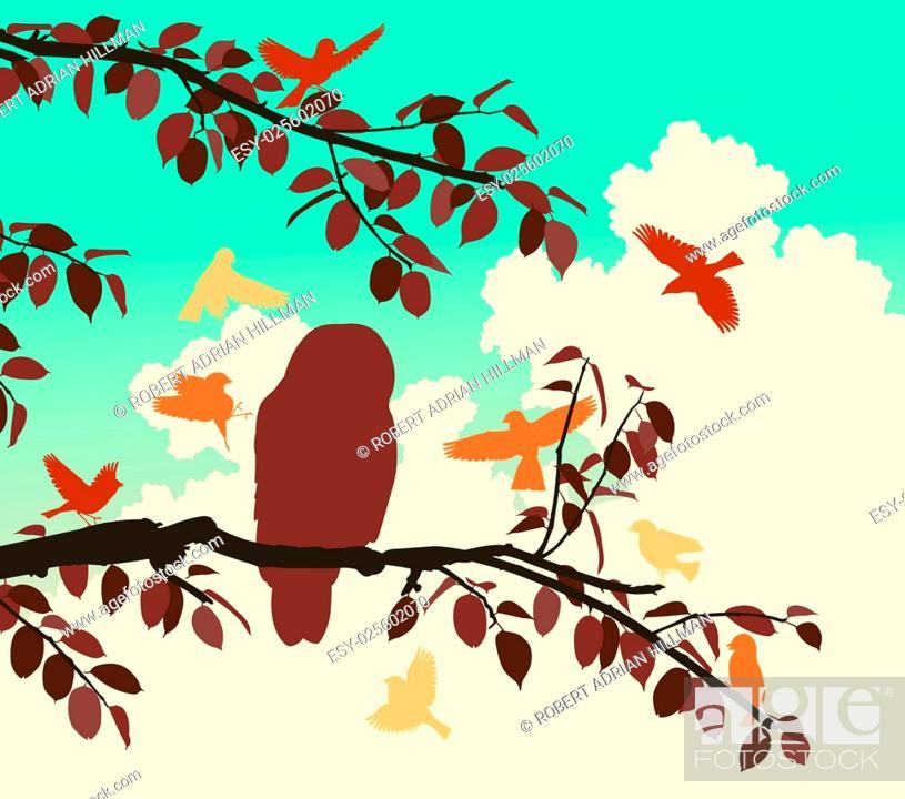 Vector: Editable vector illustration of songbirds mobbing an owl.