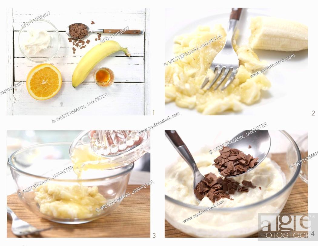 Stock Photo: How to prepare cream cheese & banana cream with chocolate flakes.