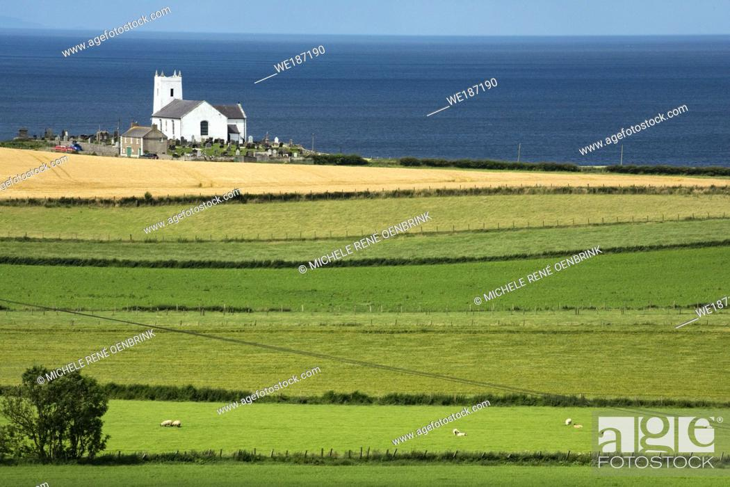 Stock Photo: Church in Ballintoy, County Antrim, Northern Ireland.