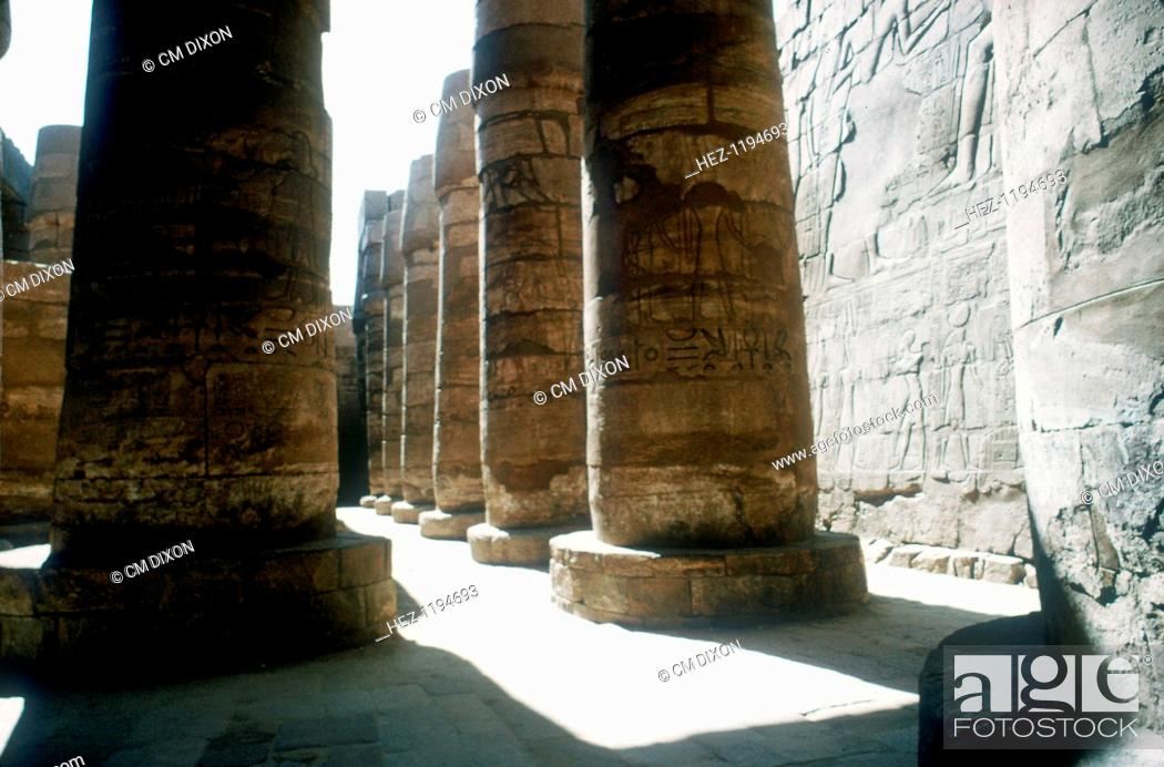 Stock Photo: Pillars in the Great Hypostyle Hall built in the 19th Dynasty, Temple of Amun, Karnak, Egypt, 14th-13th century BC.