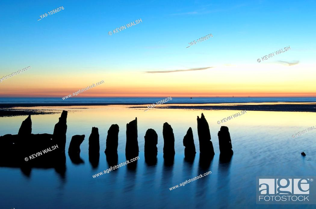 Stock Photo: Remains of Barque that went aground in rough seas off Blackpool at the start of the 20th Century.