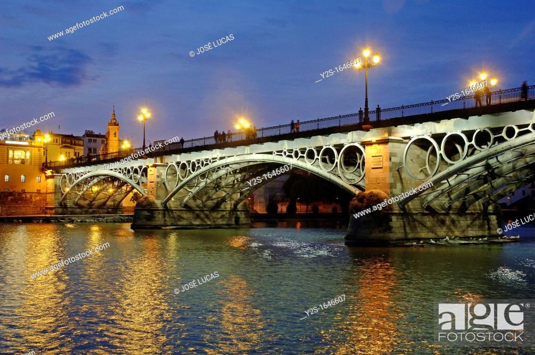 Stock Photo: Triana bridge and Guadalquivir river, Seville, Spain.
