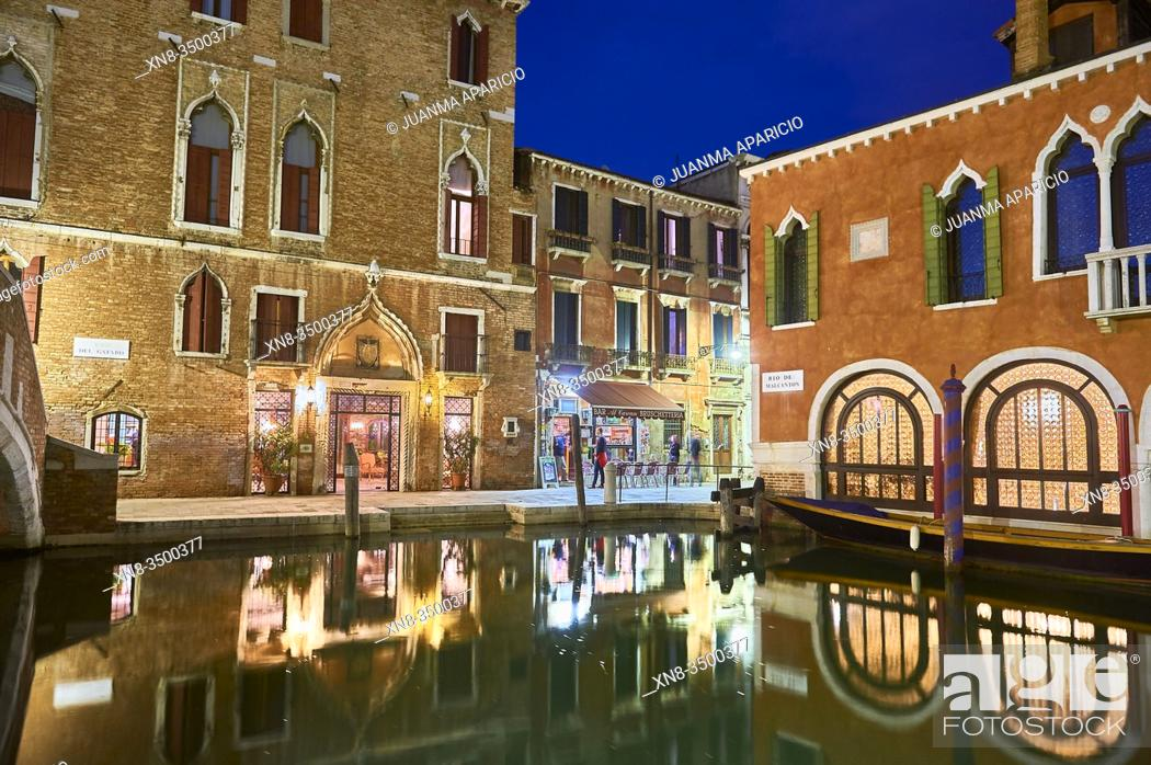 Stock Photo: Fondamenta Malcanton at night, venice, veneto, italy.