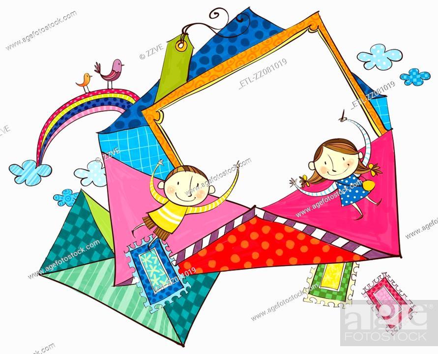 Stock Photo: Envelopes for children.