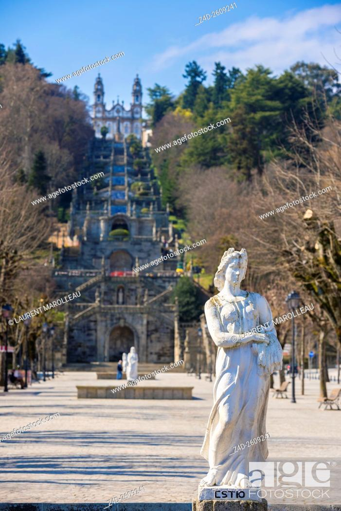 Stock Photo: Summer Statue and Sanctuary of Our Lady of Remedios, from Square of Alfredo de Sousa Avenue. Lamego, Viseu District, Norte Region, Portugal, Europe.