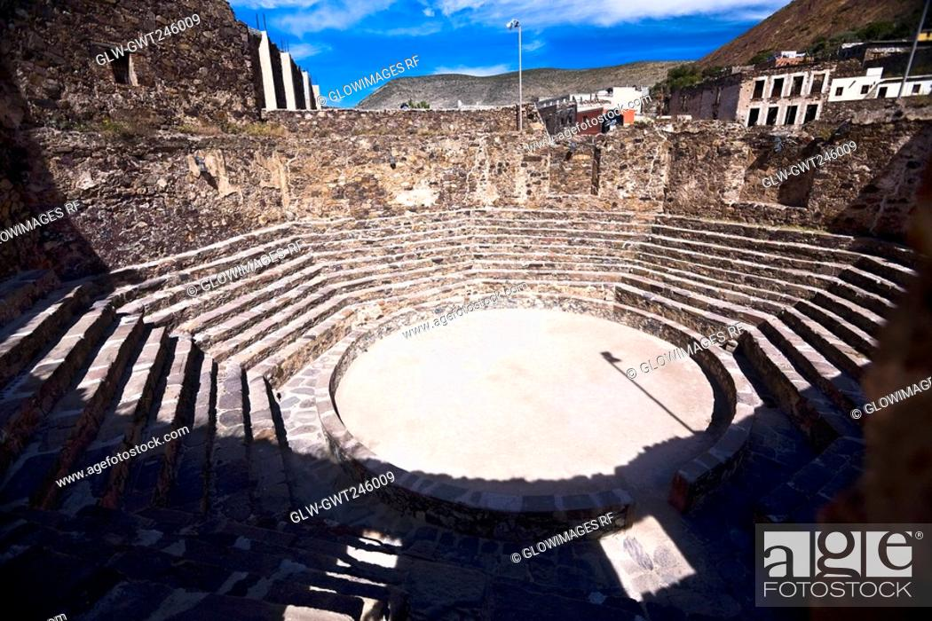 Stock Photo: High angle view of old ruins of an amphitheater, Real De Catorce, San Luis Potosi, Mexico.
