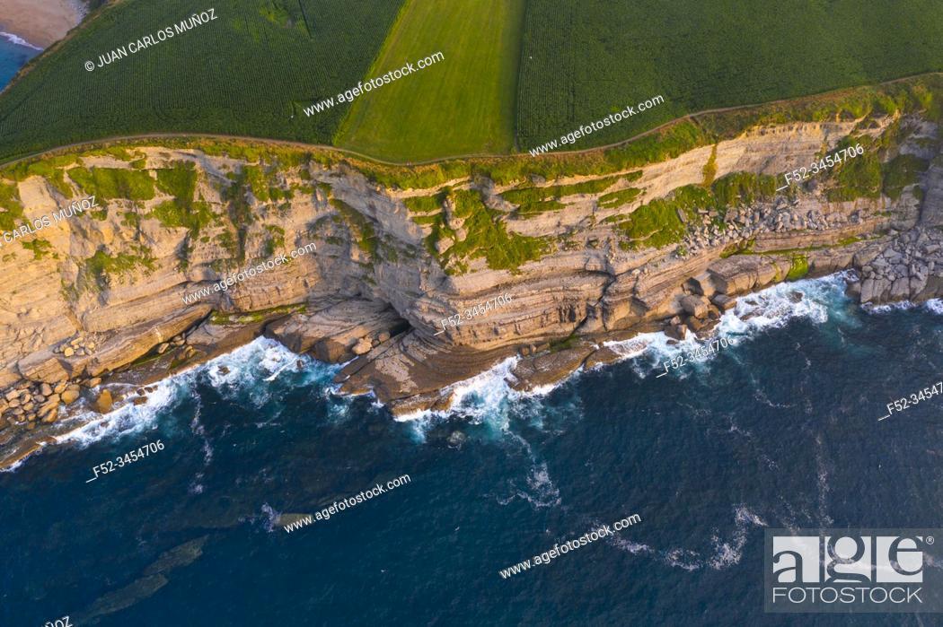 Stock Photo: Aerial View, Langre beach, Langre, Ribamontan al Mar Municipality, Cantabria, Cantabrian Sea, Spain, Europe.