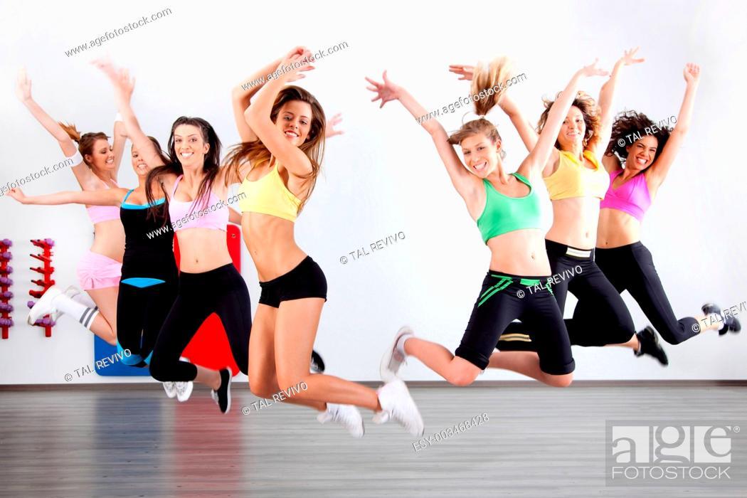 Stock Photo: ladies in aerobic class.