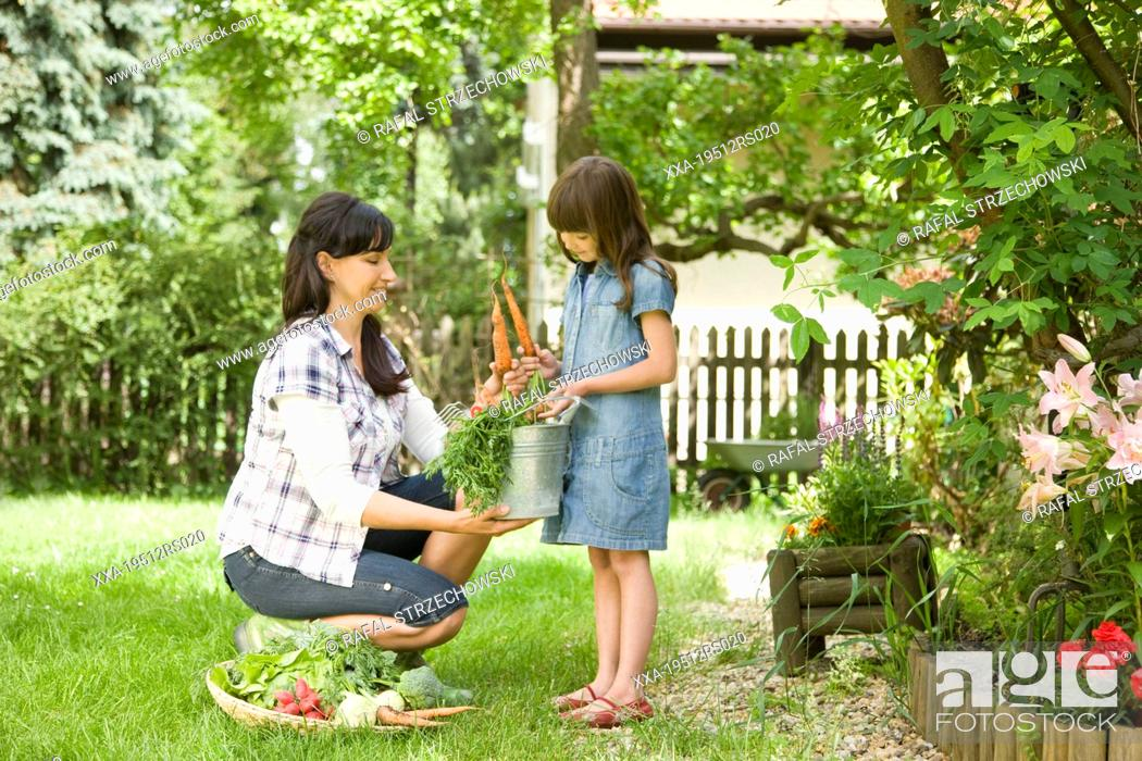 Stock Photo: Mother with daughter looking at fresh veggies in the garden.