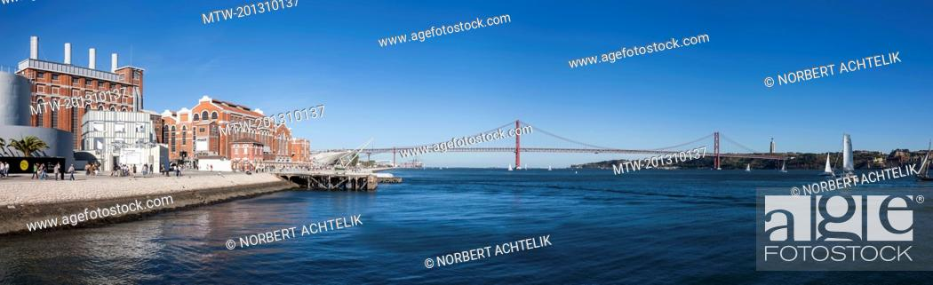 Stock Photo: MAAT museum at river, April 25th Bridge, River Tagus, Lisbon, Portugal.