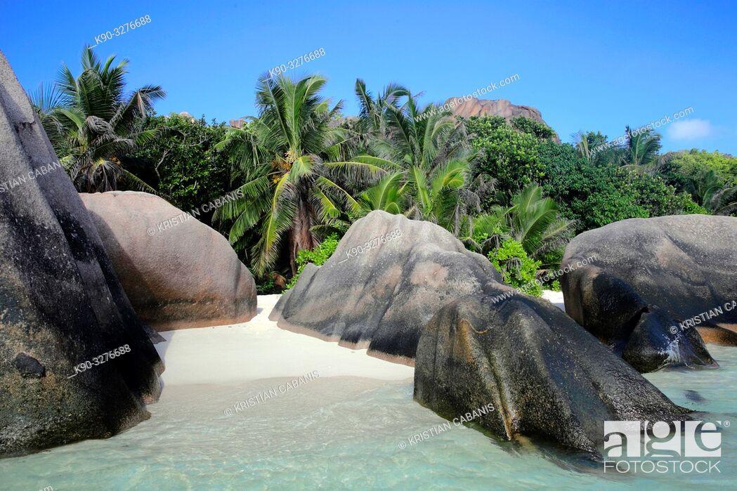 Stock Photo: Grand Anse, Beach on La Digue, Seychelles, Indian Ocean, Africa.