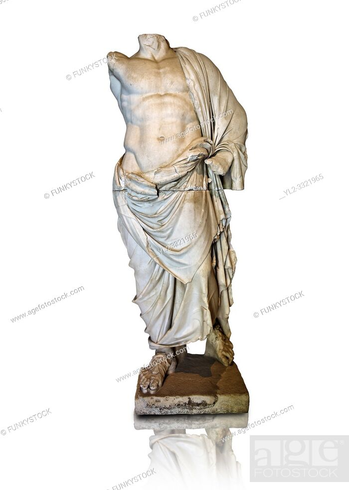 Stock Photo: Greek statue of a male figure, 2nd cent B. C Greek Hellenistic period, from Pergamon ( Bergama ) , Turkey. Istanbul Archaeological museum Inv 2707 T.