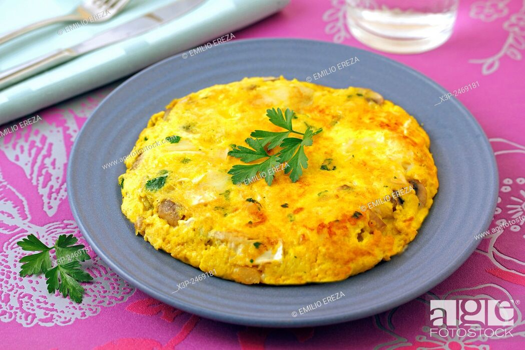 Stock Photo: Mushrooms and cheese omelet.