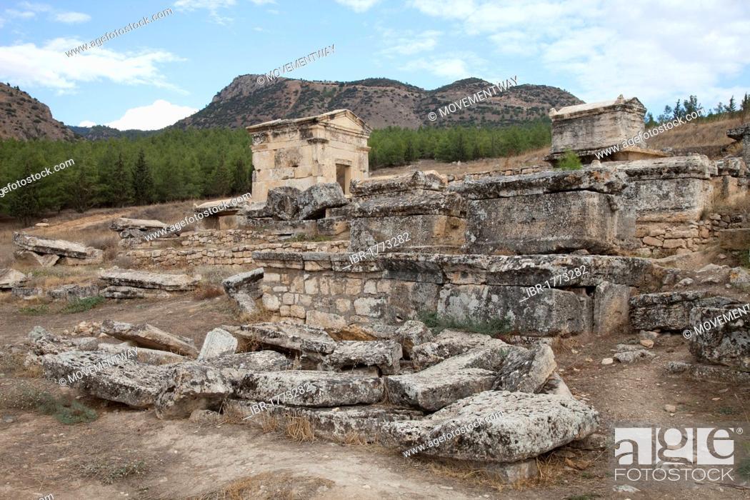 Stock Photo: Burying place, Hierapolis, Pamukkale, Denizli, Turkey, Asia.