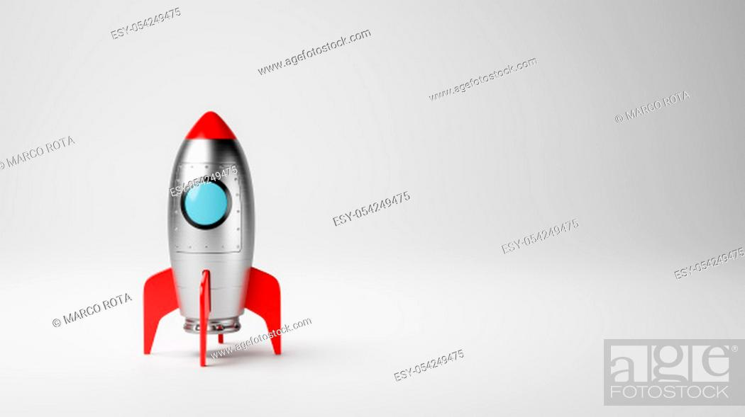 Stock Photo: Cartoon Spaceship on White Gray with Copy Space 3D Illustration, Startup Concept.