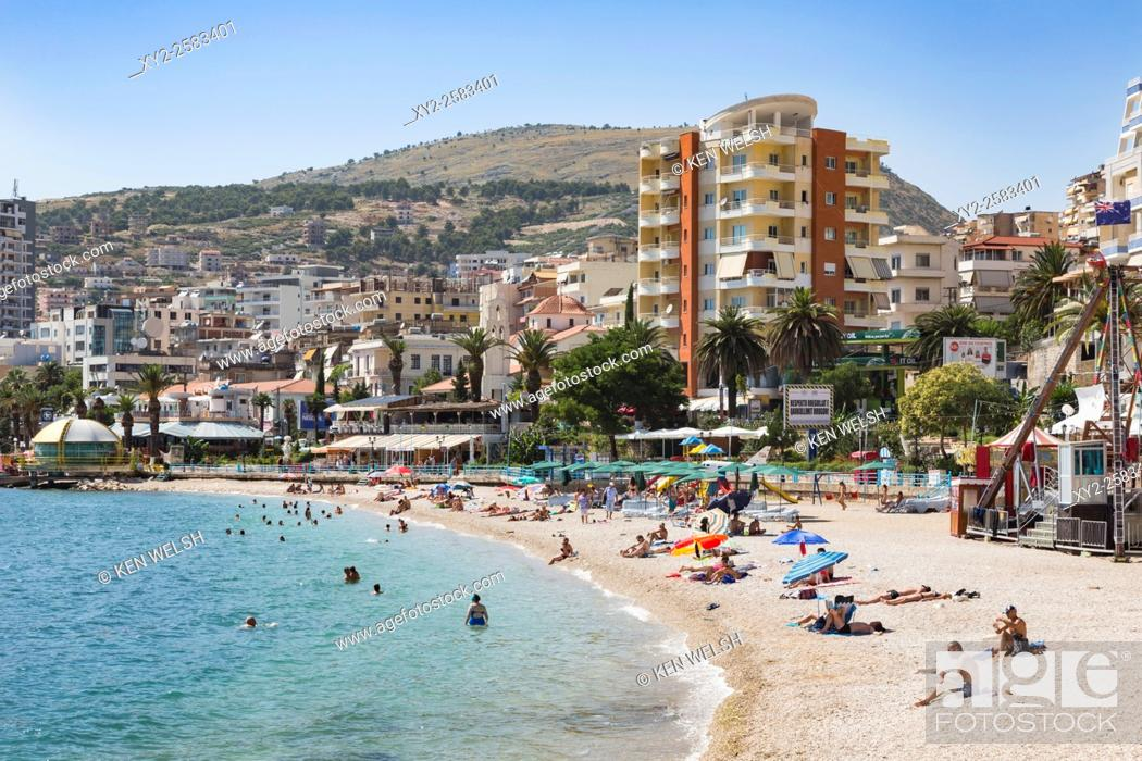 Photo de stock: Sarande or Saranda, Sarande District, Albania. View along main resort beach.