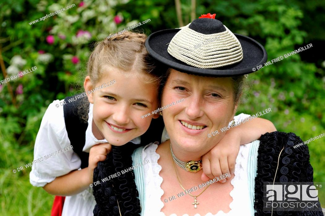 Stock Photo: Woman with her daughter in traditional bavarian costume, festive traditional costume, Dirndl, Schalk, Toelz traditional costume.