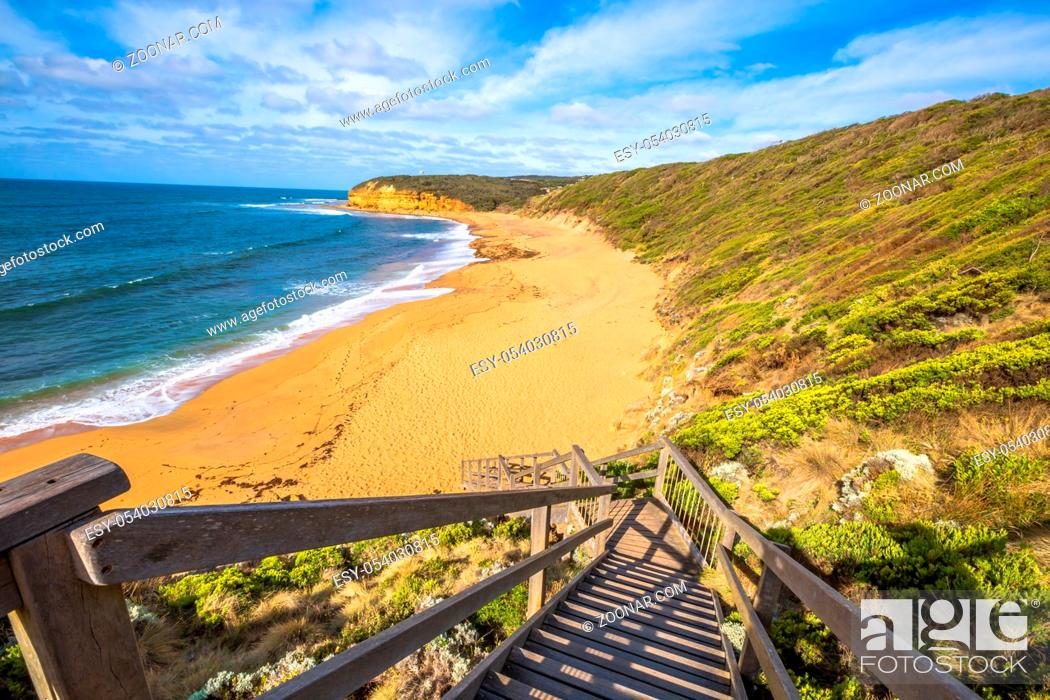 Stock Photo: The legendary Bells Beach of the movie Point Break, near Torquay, gateway to the Surf Coast of Victoria, Australia, here starts the Great Ocean Road.