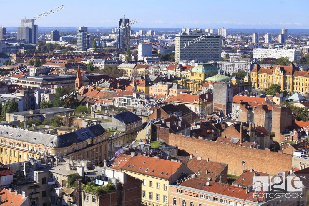 Stock Photo: Croatia, Zagreb, skyline, aerial view.