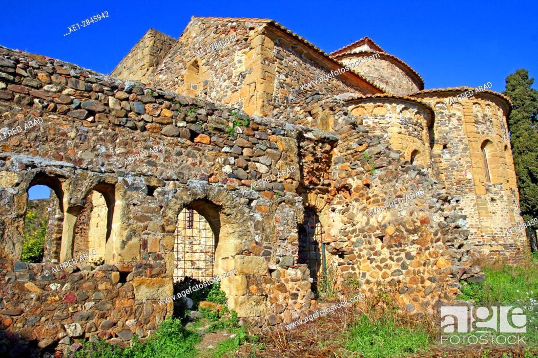 Stock Photo: Monastery of Sant Miquel de Cruilles, Baix Emporda, Catalonia, Spain.
