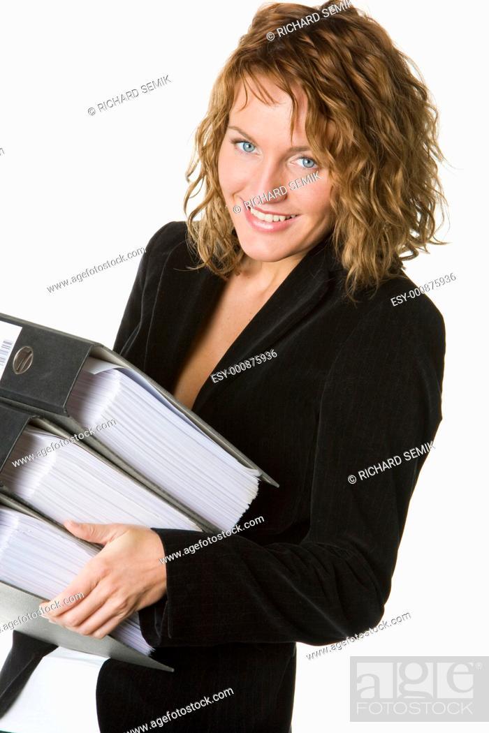 Stock Photo: portrait of businesswoman with folders.