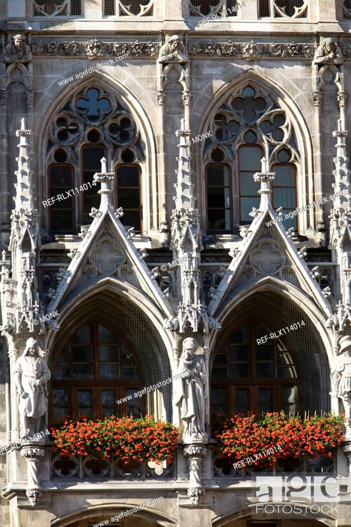 Stock Photo: Detail of town hall, Munich, Bavaria, Germany.