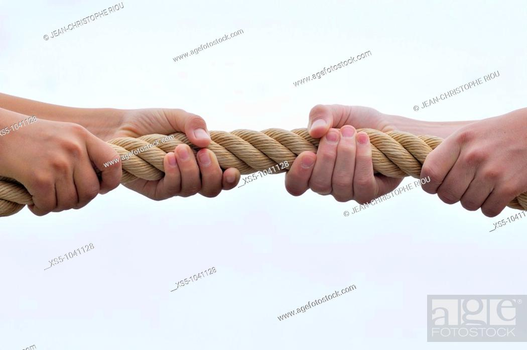 Stock Photo: hands and rope.