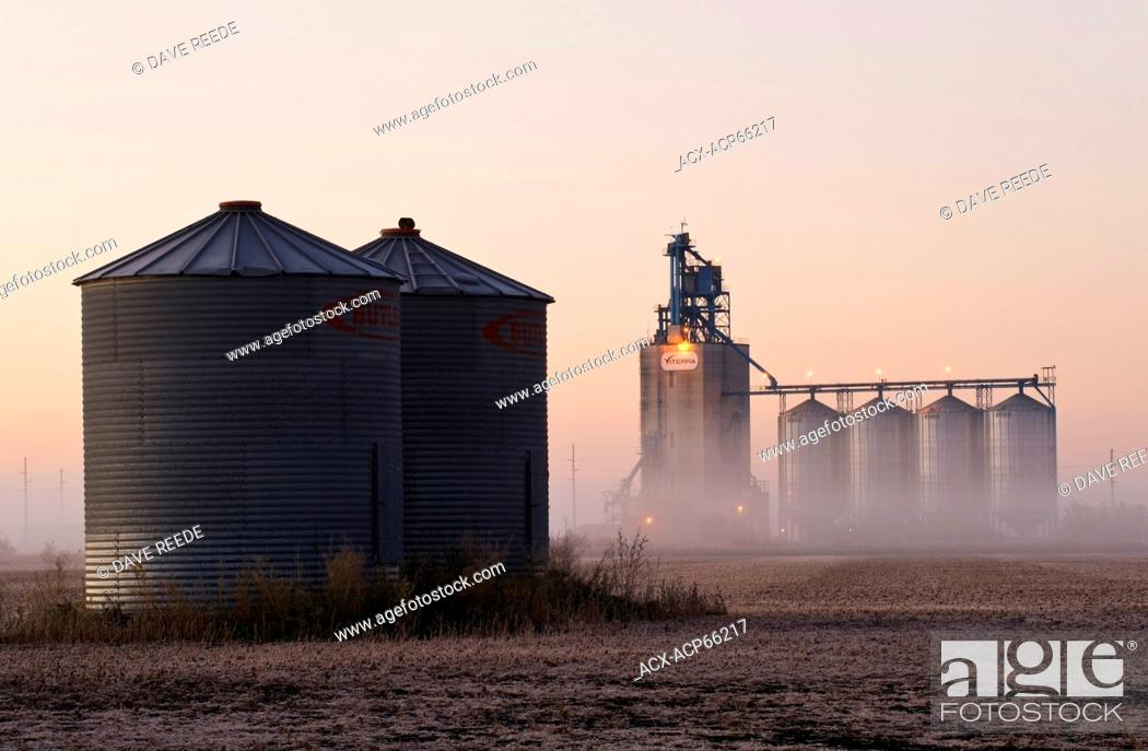 grain storage bins in a harvested soybean field with an inland grain