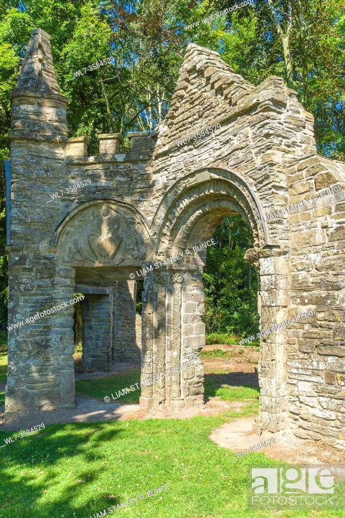 Stock Photo: Shobdon aches consisting of chancel arch and doorway with Tympanum of Christ in Majesty from an original Norman church, dating from c1135.