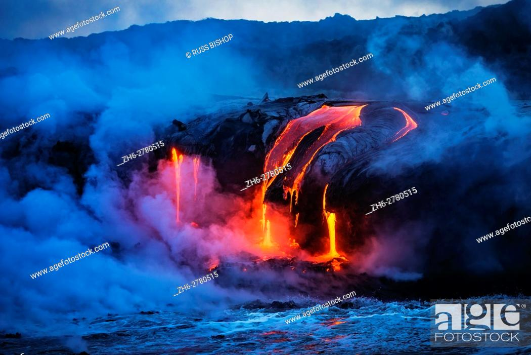 Stock Photo: Lava flow entering the ocean at dawn, Hawaii Volcanoes National Park, The Big Island, Hawaii USA.