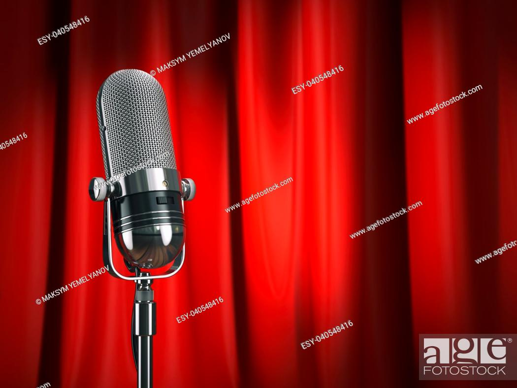 Stock Photo: Vintage microphone on stage with red curtain. Music concept. 3d illustration.