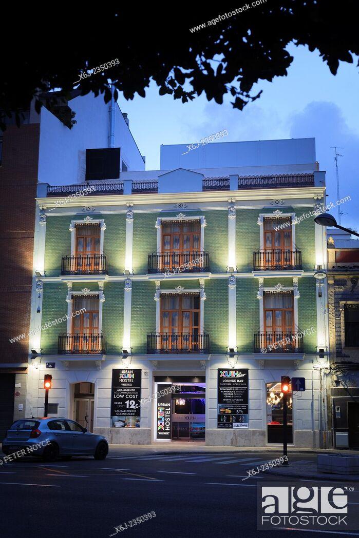 Stock Photo: Exterior of Urban Youth Hostel in Valencia Spain at dusk.