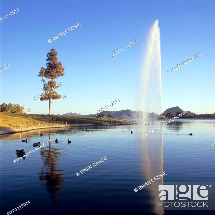 Stock Photo: Geyser erupting at Fountain Hills, Arizona.