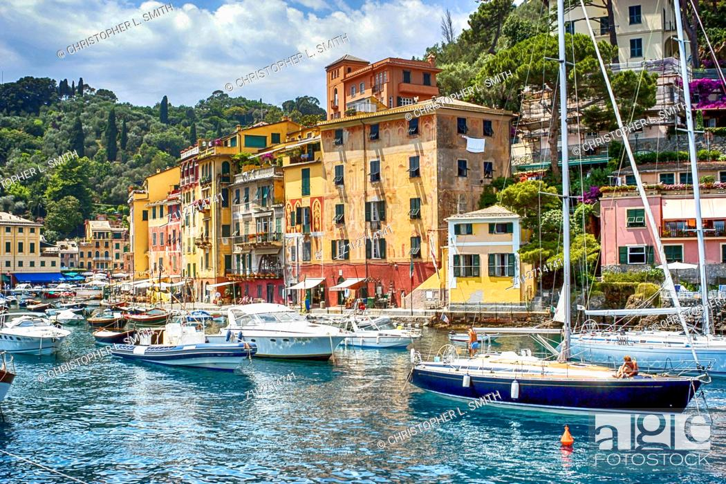 Stock Photo: The harbour and waterfront at Portofino, Italy. The new playground for the rich and famous who want piece and quiet.