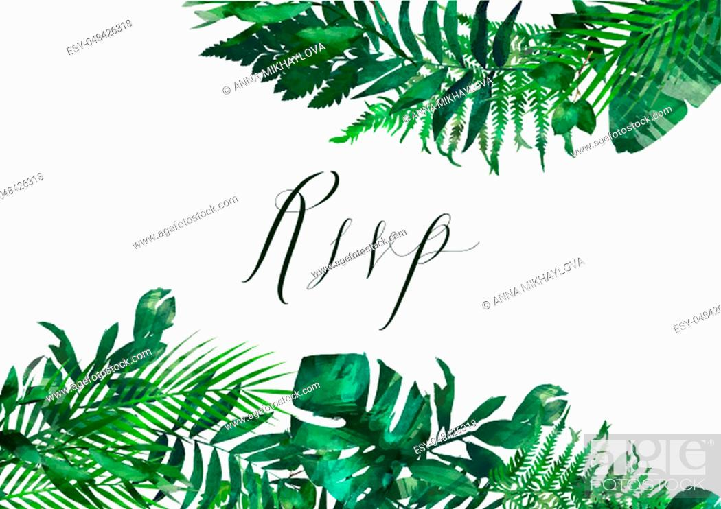 Stock Photo: Watercolor modern decorative element. Eucalyptus round Green leaf Wreath, greenery branches, garland, border, frame, elegant watercolor isolated,.