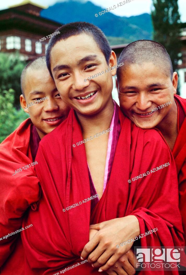 Stock Photo: Young Buddhists  Tashichho Dzong Monastery  Thimphu  Bhutan  Butan.