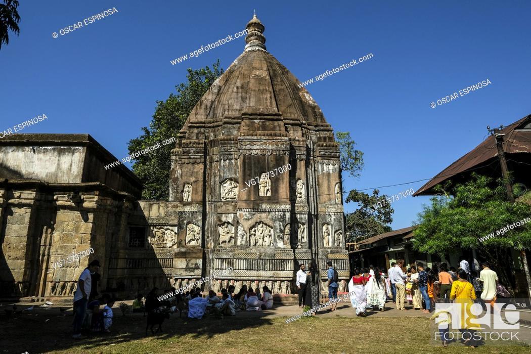 Stock Photo: Hajo, India - November 2020: Pilgrims in the Hayagriva Madhava Temple in Hajo on November 12, 2020 in Assam, India.