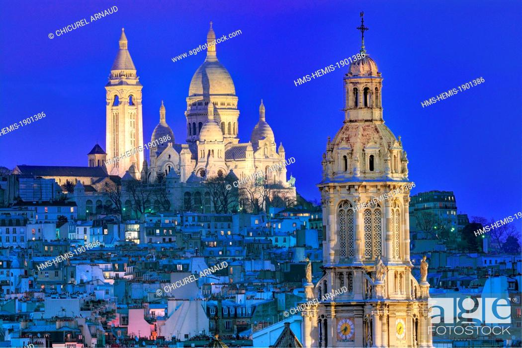 Stock Photo: France, Paris, the basilica of the Sacré-Coeur of Montmartre and the bell-tower of Sainte-Trinité (Holy Trinity) church.