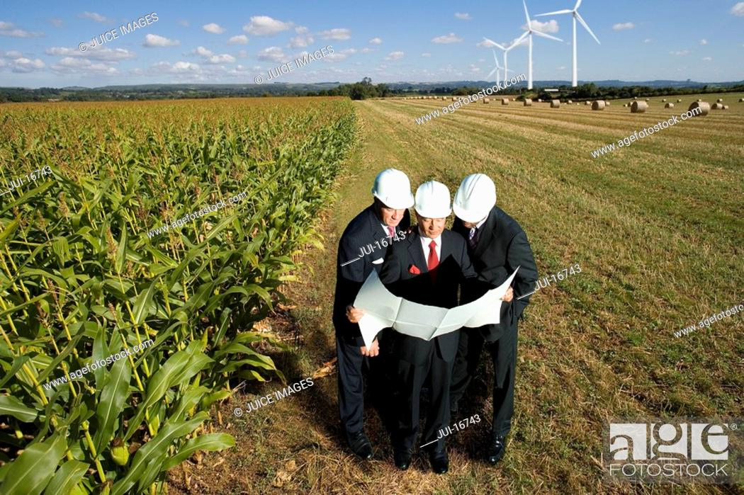 Stock Photo: Businessmen inspecting wind power plant.
