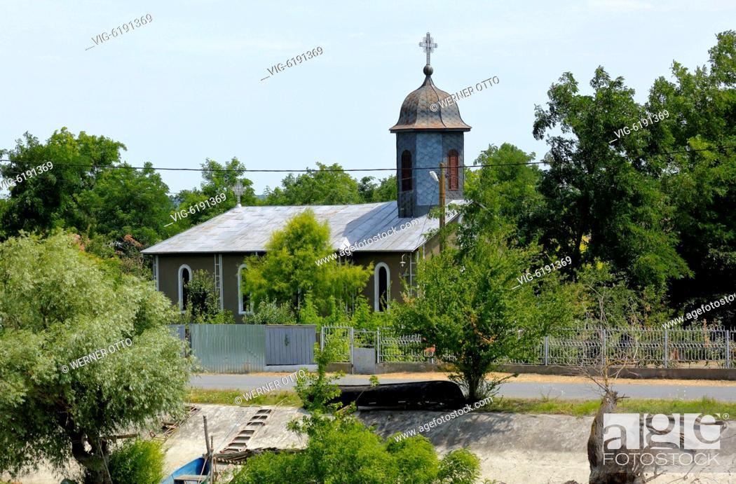 Stock Photo: Orthodox church in Partizani at the Sulina branch of the Danube, The Church dedicated to St. Princes, village church, Romania, Tulcea County.
