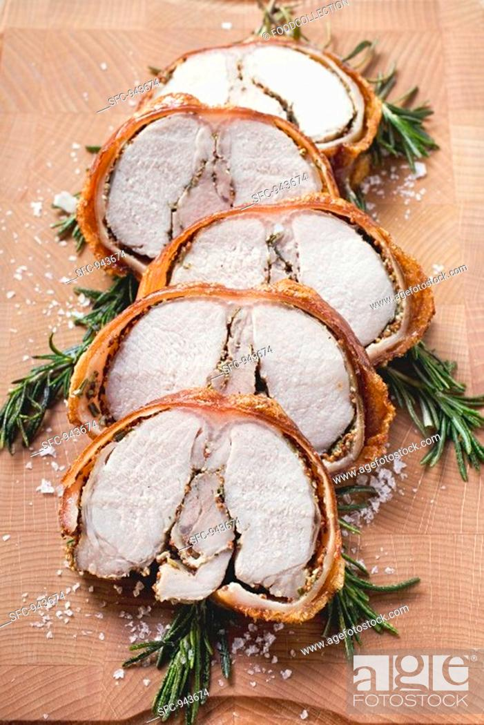 Stock Photo: Porchetta with rosemary and pepper crust Italy.