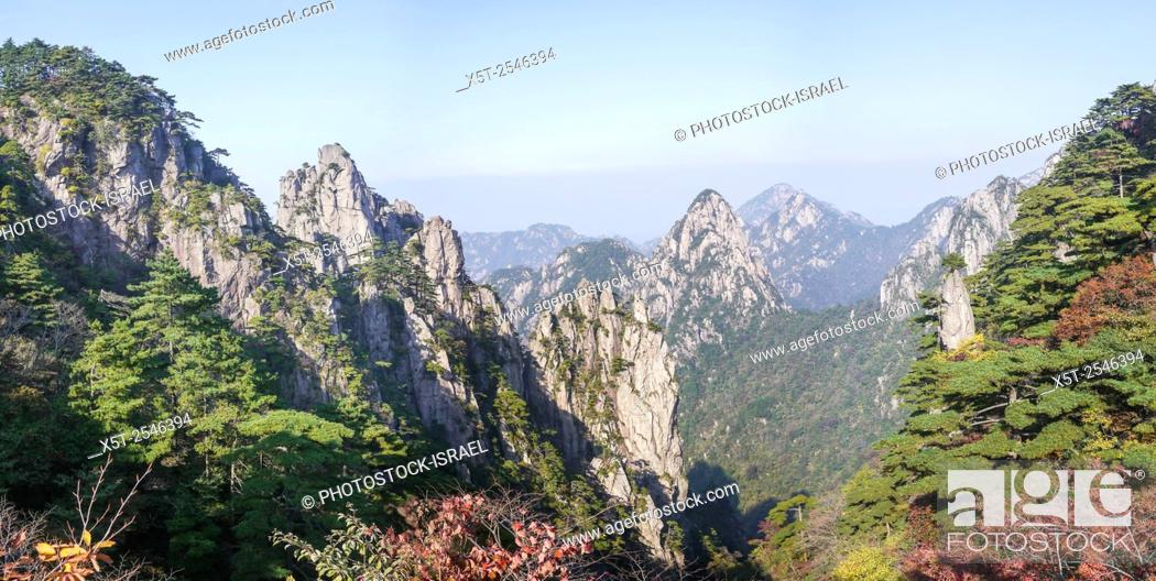 Stock Photo: Huangshan (Yellow Mountain) Anhui, China. Granite cliffs.