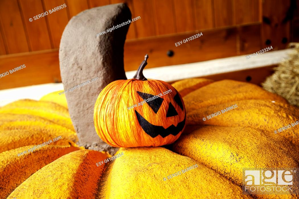 Stock Photo: Scary pumpkins for Halloween night, detail of terror and fear.