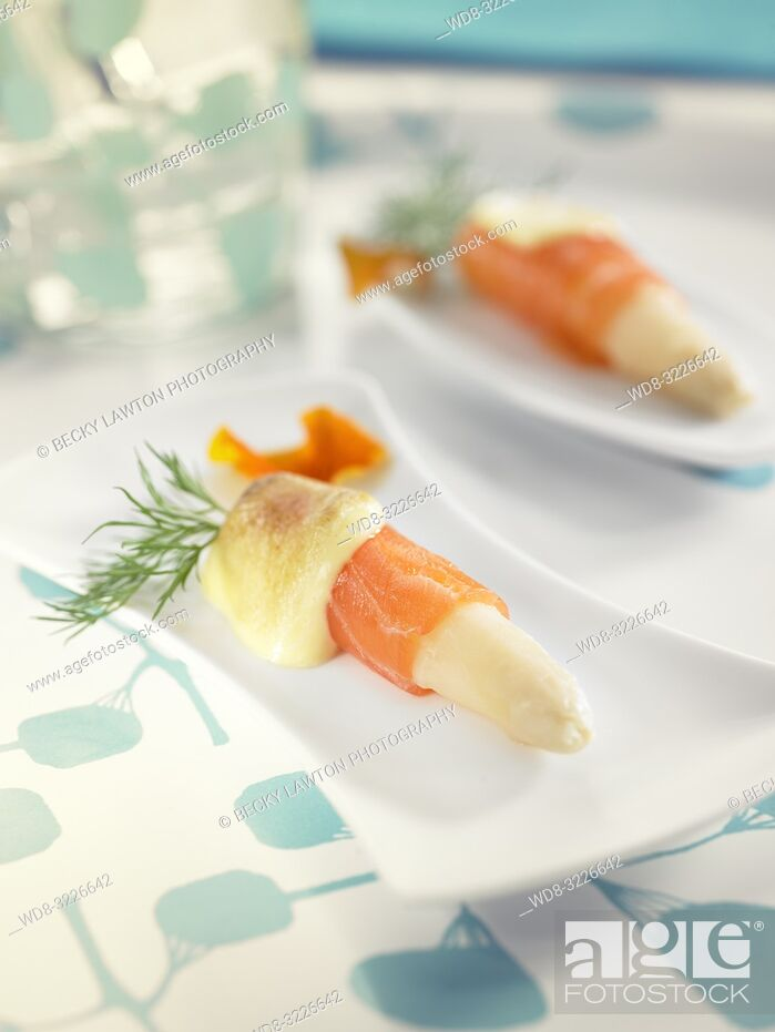 Stock Photo: pinchos de esparragos con salmon / pincho of asparagus with salmon.