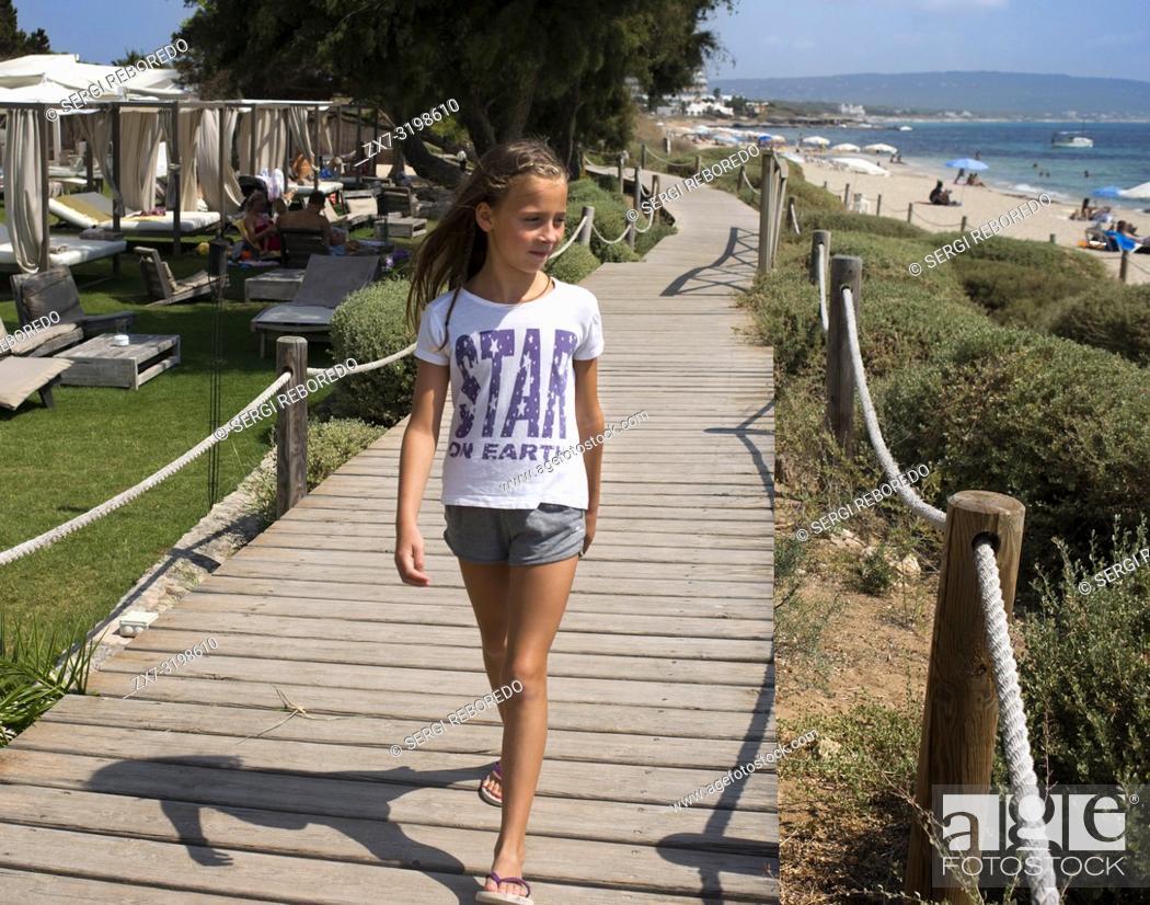 Stock Photo: Girls and children in the Gecko luxury boutique Hotel, Migjorn beach, Formentera Island, Balearic Islands, Spain, Europe.