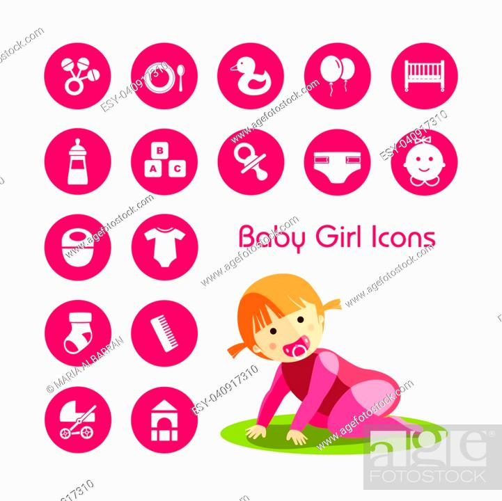 Stock Vector: Baby girl crawling and icons set.